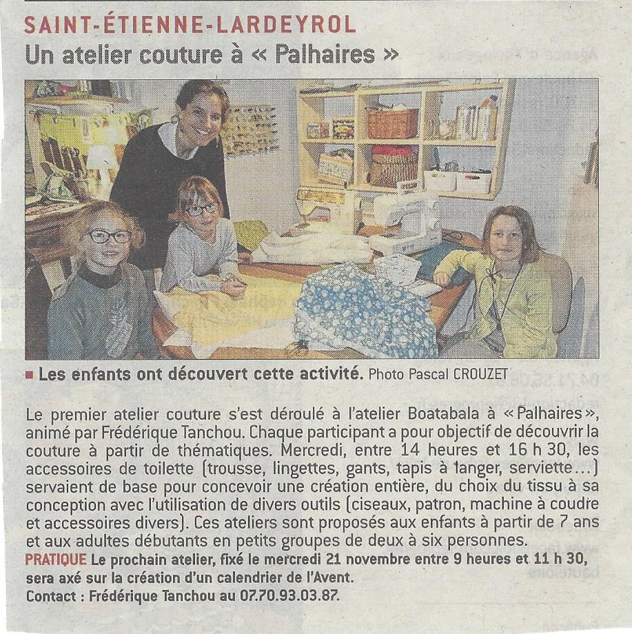 Boatabala atelier couture dans le journal